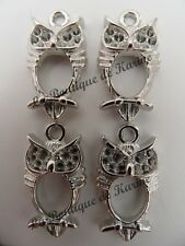 LOT DE 4 BRELOQUES METAL ARGENTE FORME HIBOUX - CREATION BIJOUX PERLES CHARMS