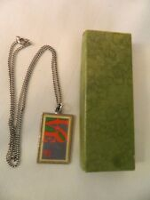 SOLID PEWTER BRASSSMITH HOUSE 8 CENT LOVE STAMP NECKLACE - WORCESTER, MA
