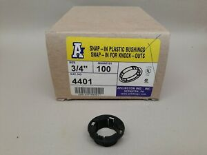 "Box of 100 Arlington 4401 3/4"" Snap-In Plastic Bushings for Knock-Outs New"