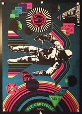 Original Vintage 1960s Psychedelic Hippie Poster Fly Carefully