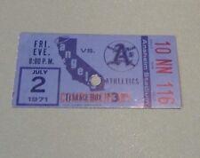July 2 1971 California Angels Oakland Athletics Baseball Ticket Stub Clark SHout
