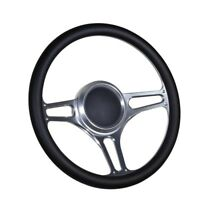 "Boat Billet steering wheel W/Adapter 3 spoke 3/4"" tapered key Marine Leather"
