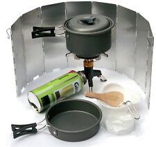 Cooking kit butane stove saucepan frypan windshield hiker 4wd bike picnic pack