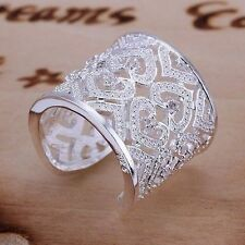 anillo abierto  ancho tamaño 9 ajustable  plata 925  Envio certificado