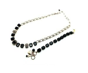 Mariana Jewelry Set Bundle Jet Black Necklace & Bracelet My Treasures Coll.