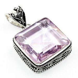 "Pink Kunzite Gemstone 925 Silver Vintage Jewelry Pendant 2"""