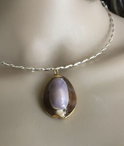 """RARE Shell Necklace - Real Purple Cowrie Shell Pendant Gold Dipped Trim 1 1/2""""L"""