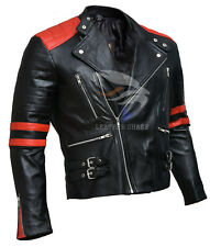 Brando Biker Black and Red Motorcycle Genuine Real Leather Jacket XS S M L XL