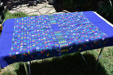 Handmade Tapestry - table runner MIGUEL - from Guatemala - blue w colorful weave