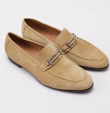 New $900 SUTOR MANTELLASSI Tan-Beige Velour Suede Bit Loafer US 9 D Shoes
