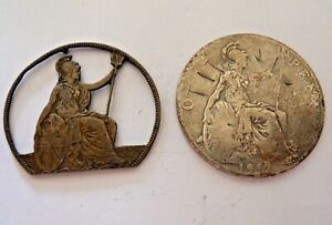 Trench Art Unusual 1912 Silvered Titanic Stamped & Britannia Cut Out Penny Coins