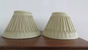 Lamp shades pair Laura Ashley sage/lichen green silk pleat