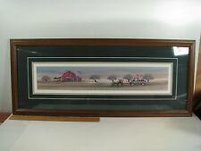 P Buckley Moss 1995 THE APPLE BARN Framed Print 419/1000 John Deere Hay Wagon