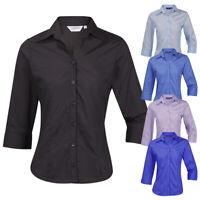 Ladies Womens Blouse Shirt Top 3/4 Length Sleeve Work Office Formal Soft Collar