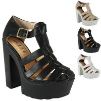 WOMENS LADIES CLEATED SOLE PEEPTOE PLATFORM HIGH HEEL SHOES SANDALS BOOTS SIZE
