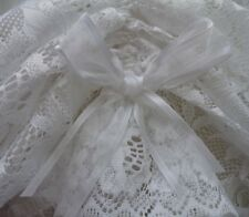 2.35m w x 50cm d  Austrian Valance in White Donna Lace Trim and Organza Bows New