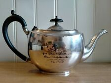More details for a superb 1915 silverplate teapot with inscription 'dorset rga maxim detachment'