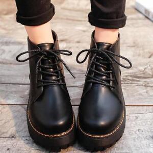 Women British Platform punk Boots flats Round Toe lace up Ankle Vogue Shoes New