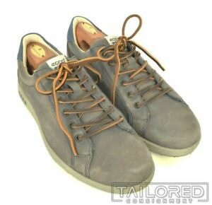 ECCO Solid Gray Leather Mens Shoes Sneakers - EU 44 / US 11