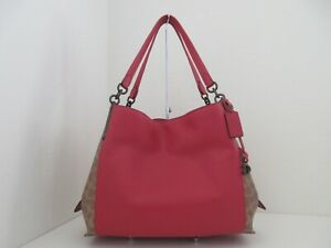 NWT AUTH COACH 76078 DALTON 31 SIGNATURE COATED CANVAS/LEATHER SHOULDER BAG-$395