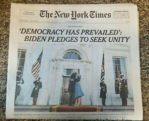 New York Times Newspaper Biden Inaugurated, January 21,2021 Mailed FlatInPlastic