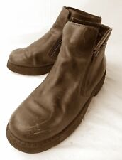 Naot Womens Boots Ankle EU 37 US 6 Brown Leather Double Zip Israel 1373