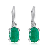 14k White Gold Oval Emerald and Diamond Leverback Earrings