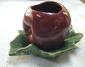 Vintage Ceramic Red Apple on Green Leaf Planter Stamped McCoy USA