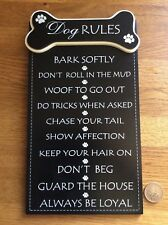 Dog Rules Wooden Wall Hanging Sign Plaque Pet  28cm x 16cm Gift Boxed FREE P&P