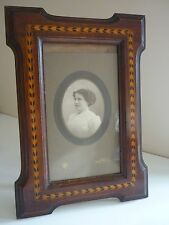 ANTIQUE EDWARDIAN OAK INLAID PHOTO/PICTURE FRAME