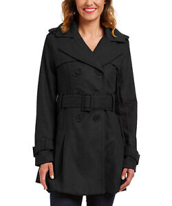Size S Black Double-Breasted Trench Coat NWT