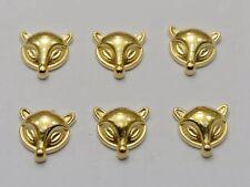 100 Gold Tone Metallic Acrylic Fox Studs 11X11mm No Hole Cell Phone Deco