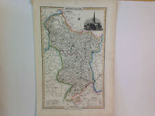 ANTIQUE ISAAC SLATER MAP OF DERBYSHIRE - ASHBOURNECHURCH INSET PRINT (c.1845-50)
