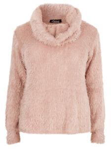 kuschliger Pullover mit langen Fäden, Wasserfallkragen, Damenpullover NEU