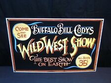 """NOS 1997 """"Wild West Show"""" Porcelain Buffalo Bill Sign ANDE ROONEY 13.6"""" X 8.75"""""""