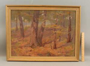 Large ELIZABETH HUNT BARRETT American Impressionist Wooded Landscape Painting