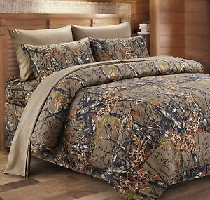 7pc King WOODLAND BROWN CAMO COMFORTER / SHEET SET : BED IN A BAG WOODS HUNT