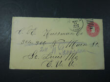1908 CIRCULATED CARIBBEAN DOS CENTAVOS 2 CENTS EMBOSSED RED STAMP ENVELOPE