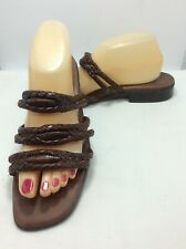 Trotters Brown Leather Strappy Slide Sandals 10 M