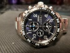 Seiko Men's SSC305 Solar Chronograph Blue Dial Stainless Steel Bracelet Watch