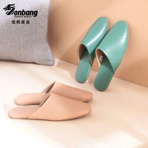 Women Men Sheepskin Leather Slippers Home Mules Shoes Breathable Waterproof