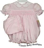 NWT Petit Ami Pink Smocked Bubble Romper & Bonnet Baby Girls 3 6 9 Months
