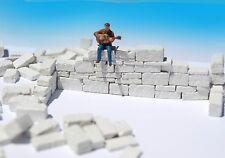 100 Miniature white Stone Blocks O HO scale diorama model 1:43 1:35 wargame wall
