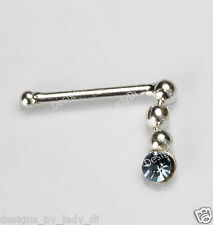 Silver Dangle With Baby Blue Gem Silver Nose Stud Ring