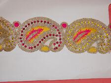 1 M 6.5 cm jaune doré cristal rose indien arabe Paisley tresse dentelle mariage