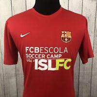 Nike FC Barcelona Men's Large Red FCBescola Dri Fit Soccer Camp Jersey