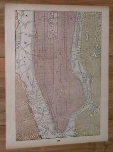 1895 ANTIQUE MAP OF MANHATTAN BROOKLYN NEW YORK VERSO PHILADELPHIA PENNSYLVANIA