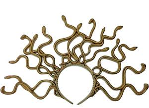 Medusa Snake Costume Headband, Gold, One Size