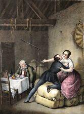 L'amant et le cocu aquatinte XIXe anonyme