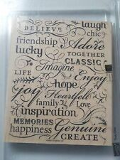 STAMPIN UP TRES CHIC BACKGROUND LARGE WOOD MOUNTED SINGLE STAMP USED 120hm